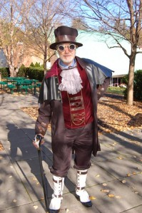Science teacher Mr. Barton showing off his costume.
