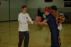 Alec Cohen collecting his candy.