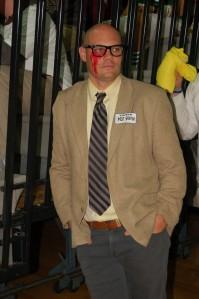 English teacher Mr. Laf showing his creepy costume.