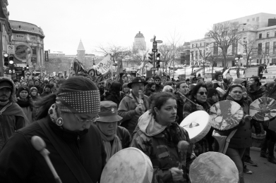 The Act on Climate March in Quebec City, on April 11th, 2015, was led by First Nations to protest governmental inaction on the issue. Main concerns included oil exploitation and transportation by pipeline. My goal with this photograph is to ensure their voices are heard.